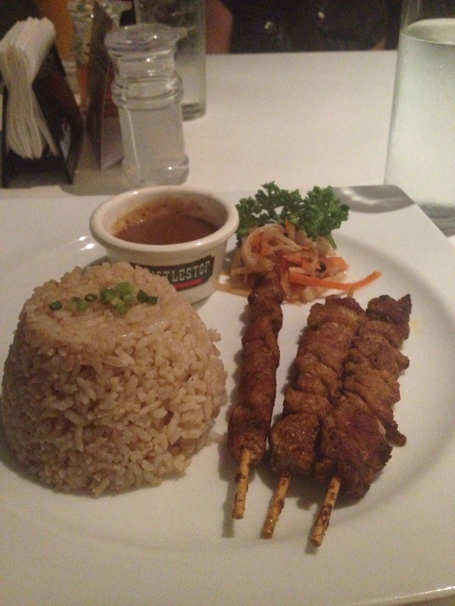 Sate Babi - Pork (tenderloin served with sate rice and peanut sauce)